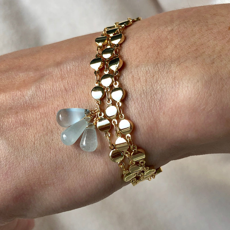 Chalcedoney Cluster Gold Dot Bracelet
