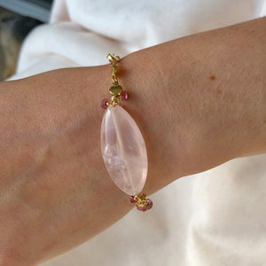 Rose Chalcedoney/Pink Tourmaline Bracelet