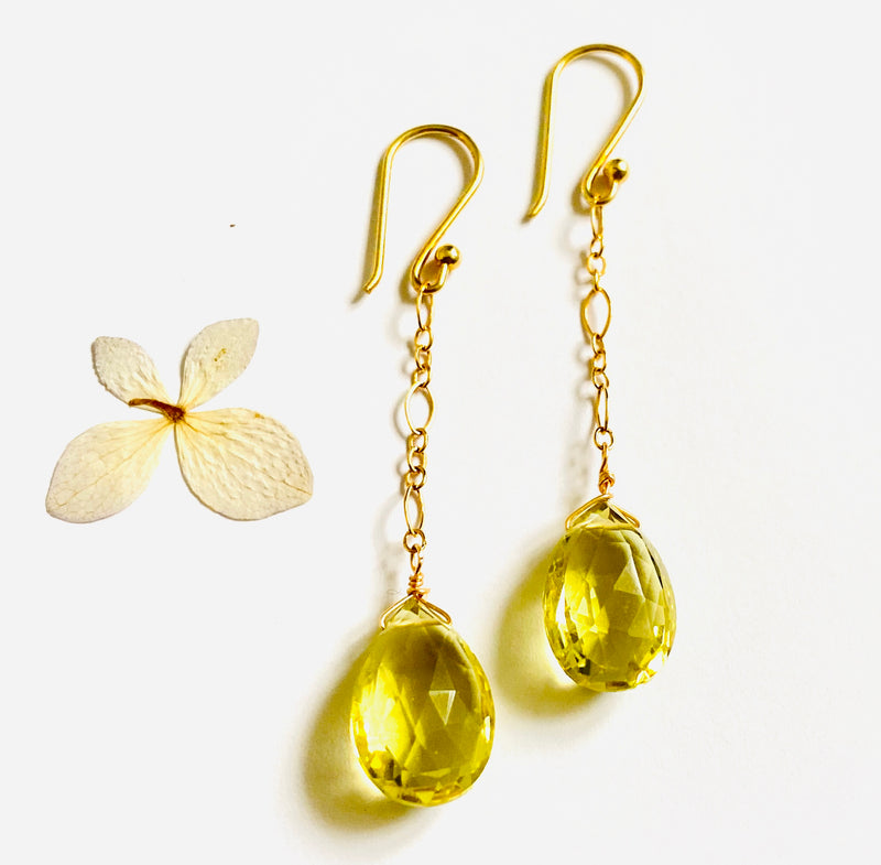 Lemon Topaz Danle Chain Earring