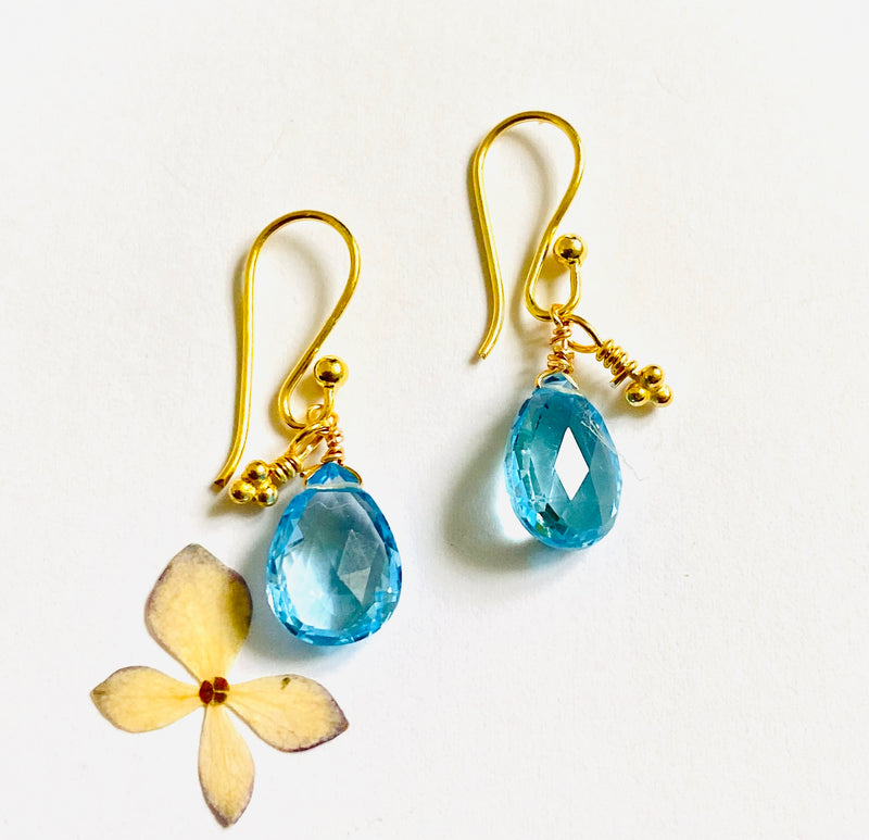 Blue Topaz Briolette Earrings