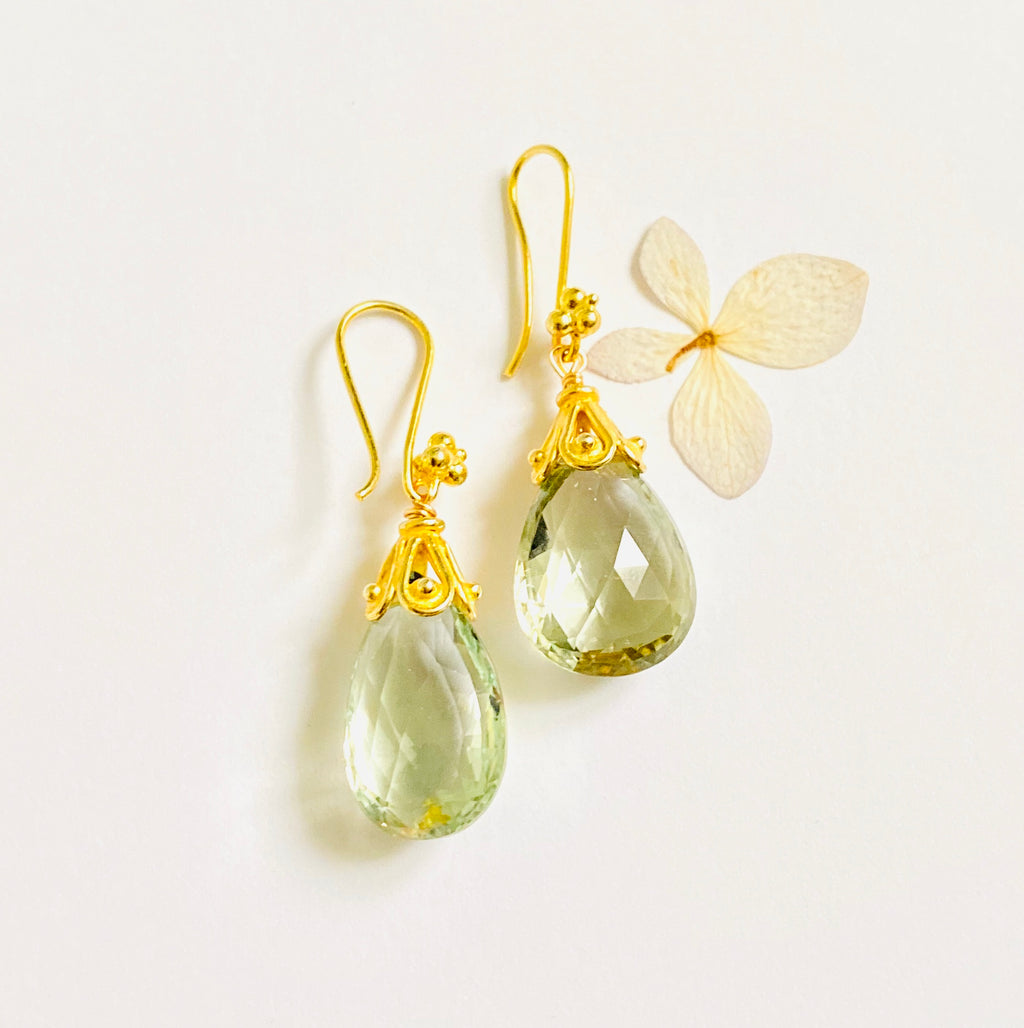 Green Amythyst drop Gold Earring