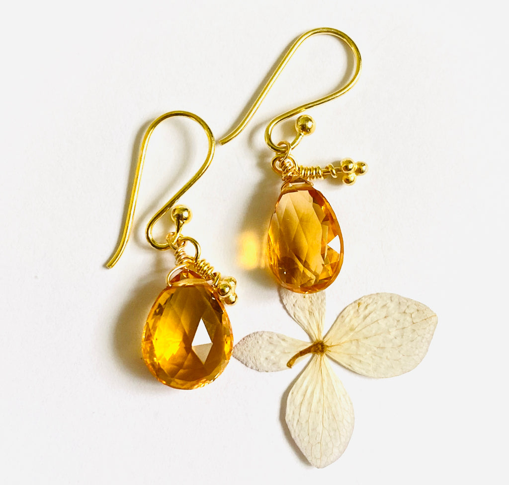 Citrine Gold Drop Earring