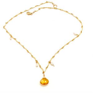 Citrine and Pearl Gold Bar Necklace