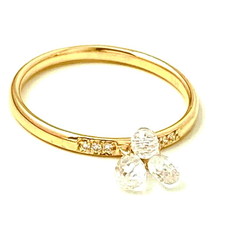 Diamond Pave and White Sapphire Drop Gold Ring /3.3 Carats