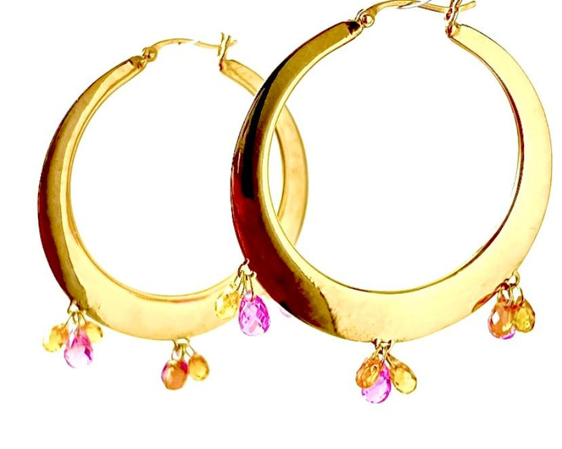 Pink and Auburn Sapphire Drop Gold  Classic Hoop Earring / 7.0 Carats