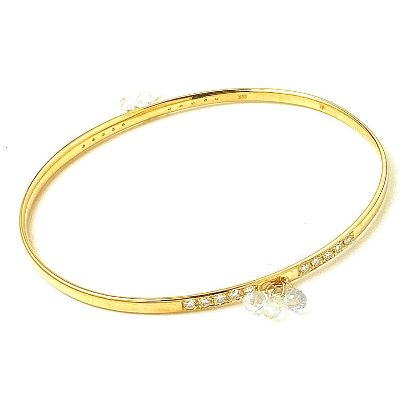 Diamond Pave with Sapphire Drop Gold Bangle Bracelet / 5.0 Carats