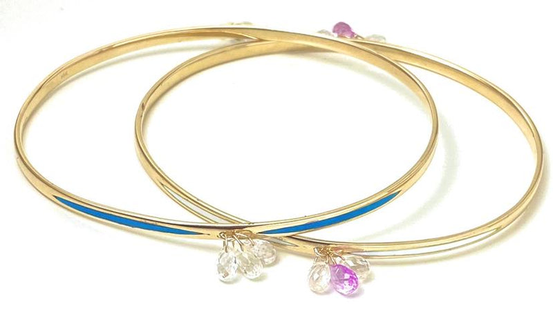 Pink and White Sapphire Drop Gold Enamel Bangle Bracelet / 3.5 Carats