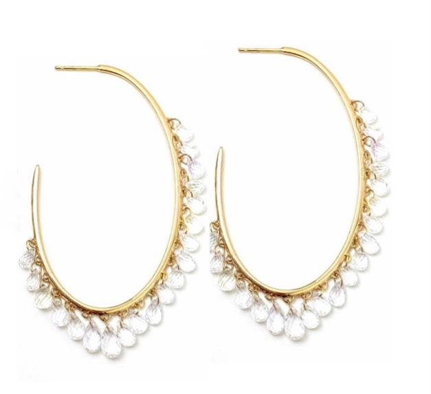 White Faceted Sapphire Drop Oval Gold Hoop Earring / 23.3 Carats