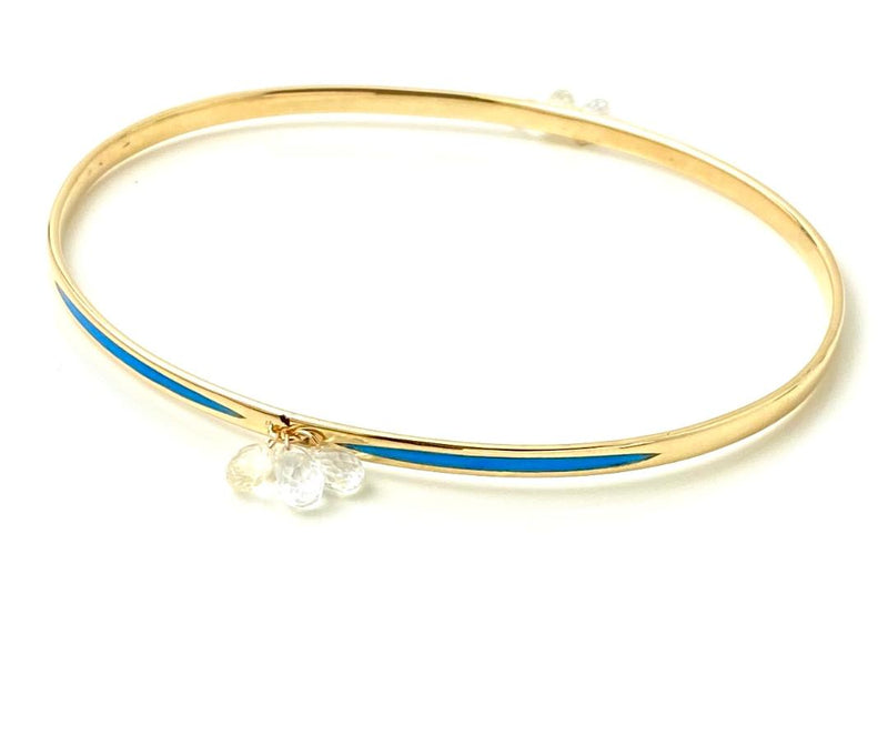 White Sapphire Drop bangle gold bracelet with  inlaid Blue Enamel  / 3.5 Carats