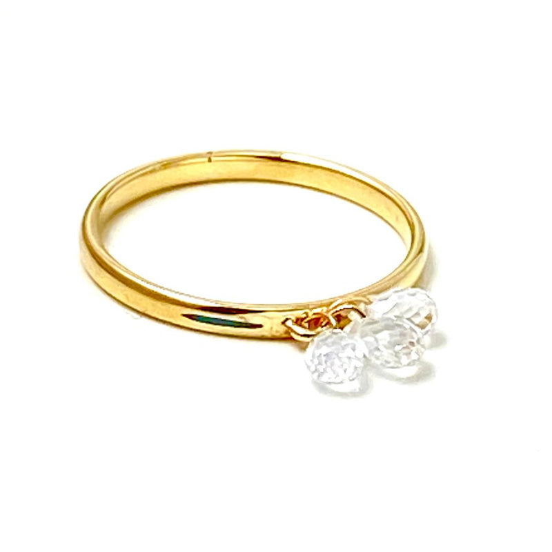 White Sapphire Drop Enamel Gold Ring / 3.0 Carats