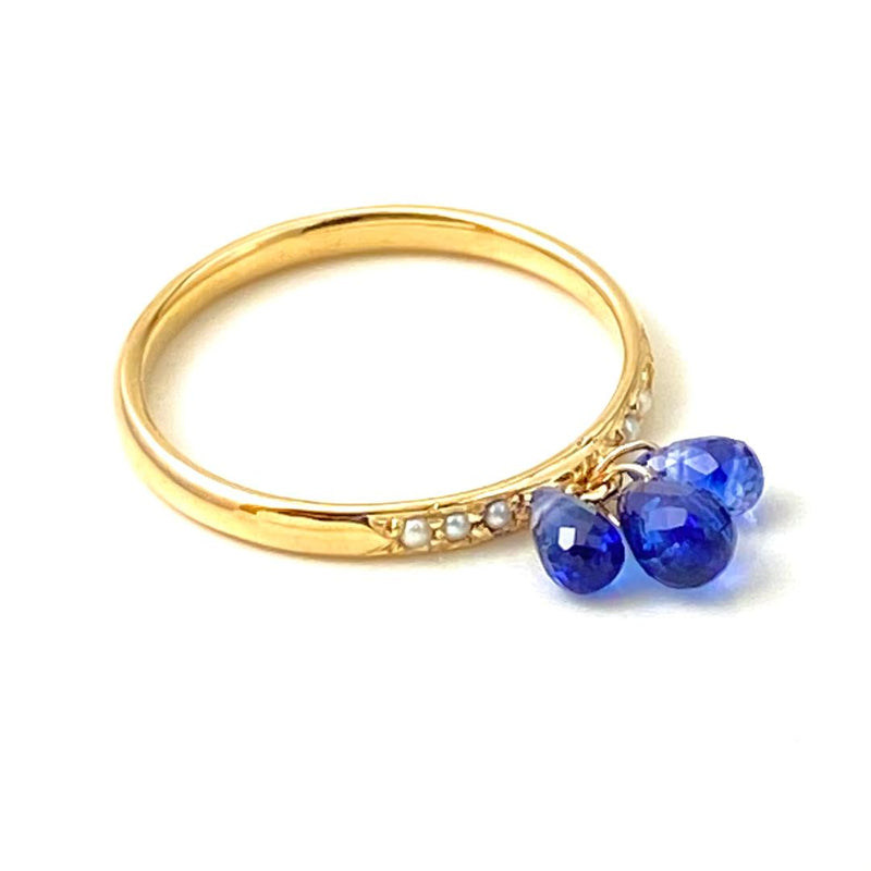 Pearl Pave and Blue Sapphire Drop Gold Ring