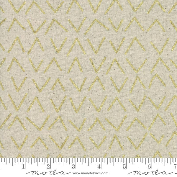 Mochi Linen - Frost Chevron in Metallic