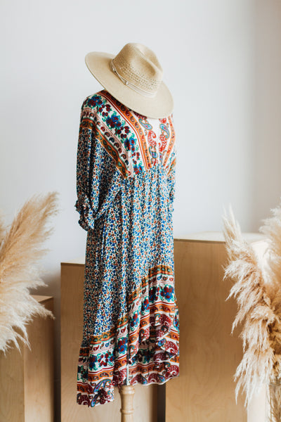 PALACIO BOHO MIDI DRESS IN BLUE