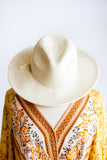 CAICOS BEADED STRAW HAT IN IVORY