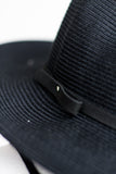 ELLE BANDED PANAMA HAT IN BLACK