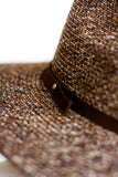 ELLE BANDED PANAMA HAT IN BROWN