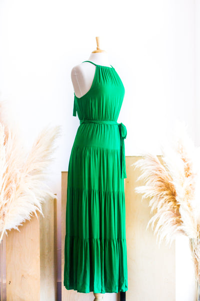 BUENES AIRES HALTER DRESS IN GREEN