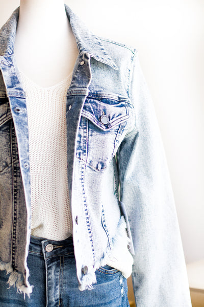 AURORA RAW CUT DENIM JACKET IN BLEACHED