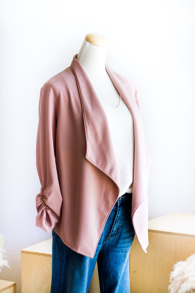 BASIC STRETCH BLAZER IN BLUSH