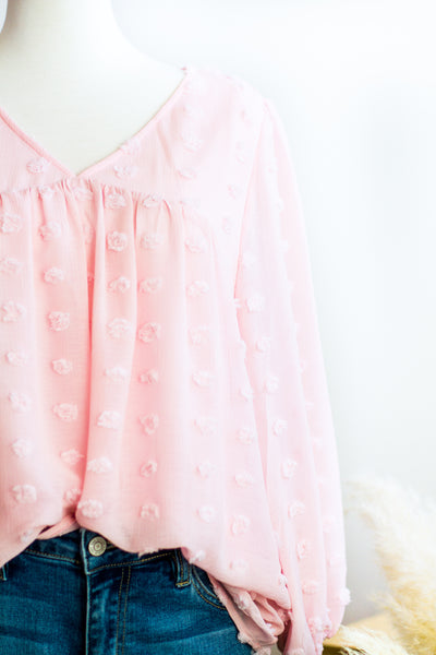 LUCY BABYDOLL DOT BLOUSE IN BLUSH