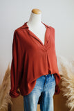 BASIC CAREER BLOUSE IN RUST