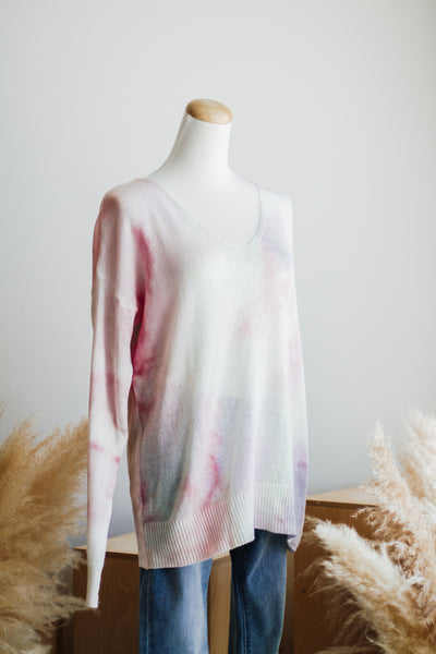 MARBLE BLAZE TIE DYE SWEATER IN BLUSH