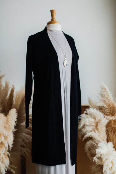 GINA LONG SOFT CARDIGAN IN BLACK