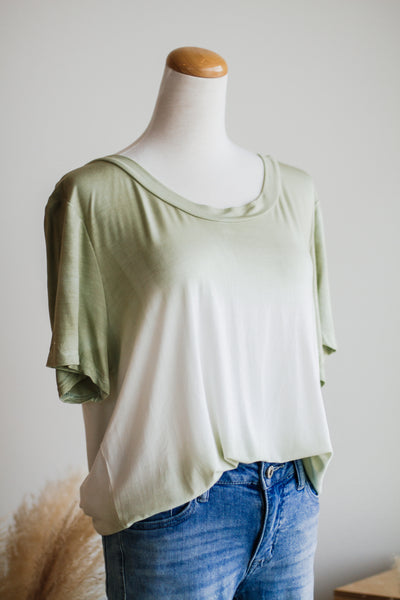 DARA TIE-DYE TOP IN SAGE