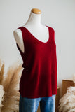 SOUTHPORT SLEEVELESS SWEATER IN CRIMSON
