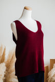 SOUTHPORT SLEEVELESS SWEATER IN BURGUNDY