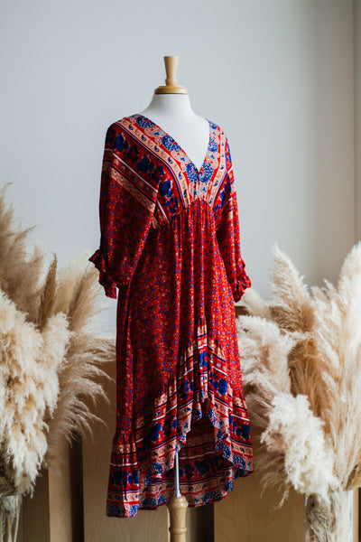 PALACIO BOHO MIDI DRESS IN RED