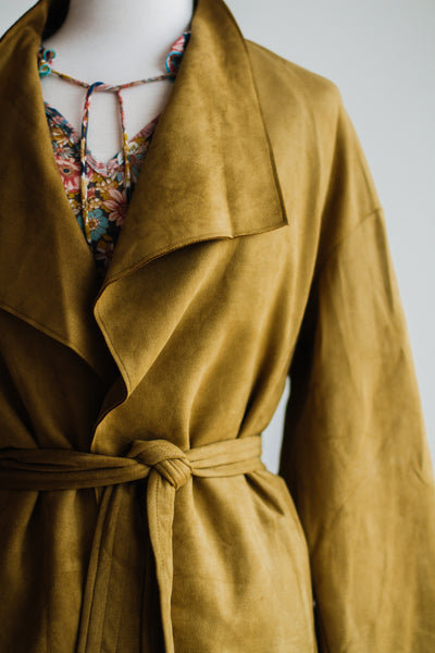 WEST END SUEDE TRENCH COAT IN MUSTARD