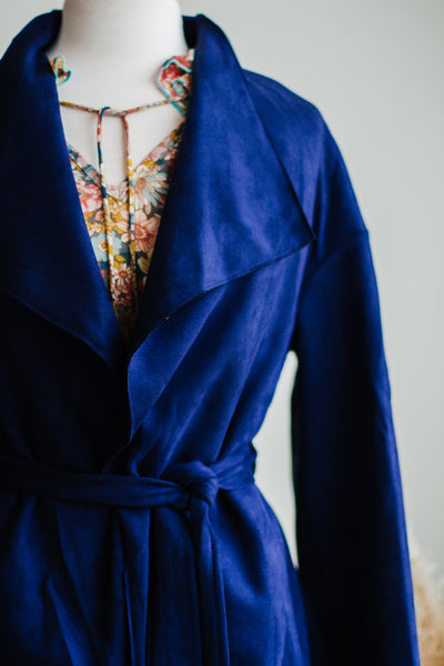WEST END SUEDE TRENCH COAT IN NAVY