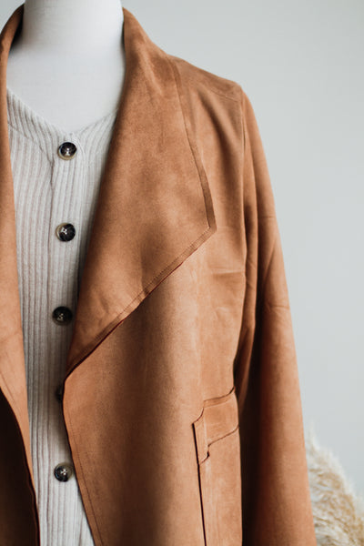 THE NASHUA VEGAN SUEDE JACKET IN CAMEL