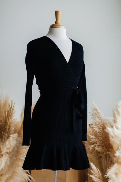 TAKE ME DANCING KNIT DRESS IN BLACK