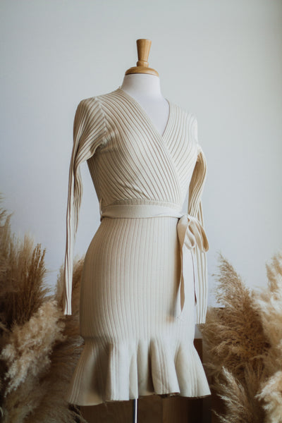 TAKE ME DANCING KNIT DRESS IN BEIGE