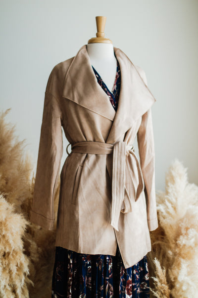 WEST END SUEDE TRENCH COAT IN TAUPE