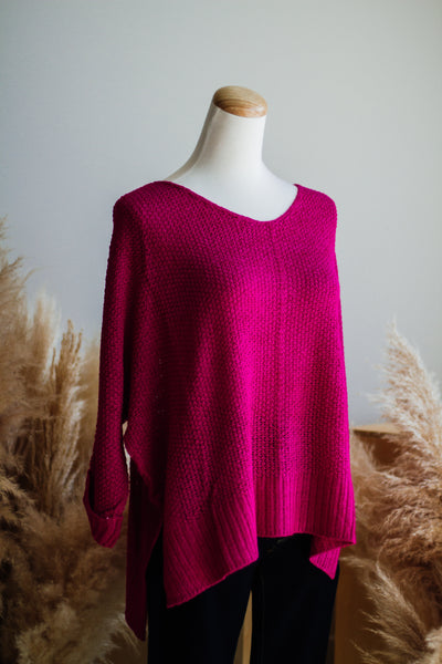 FABULOUS FUCHSIA KNIT SWEATER