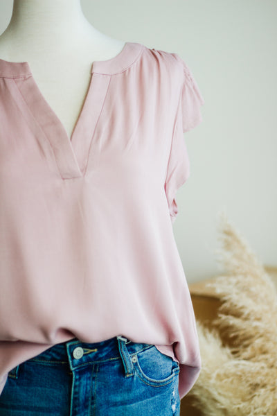 PENELOPE RUFFLE SLEEVE TOP IN PINK