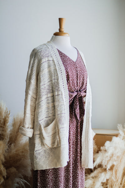 FANCIFUL OPEN KNIT CARDIGAN IN IVORY