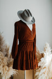 SPARKS WILL FLY MINI DRESS IN RUST