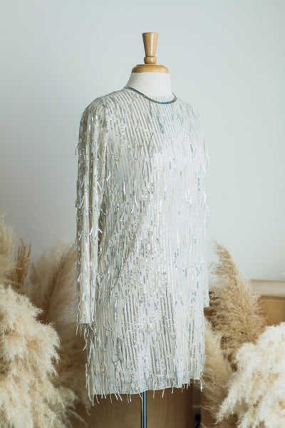 SPARKS + FIREWORKS SEQUIN DRESS IN NUDE