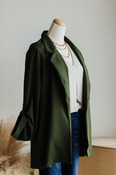 SIMPLE OPEN KNIT BLAZER IN OLIVE