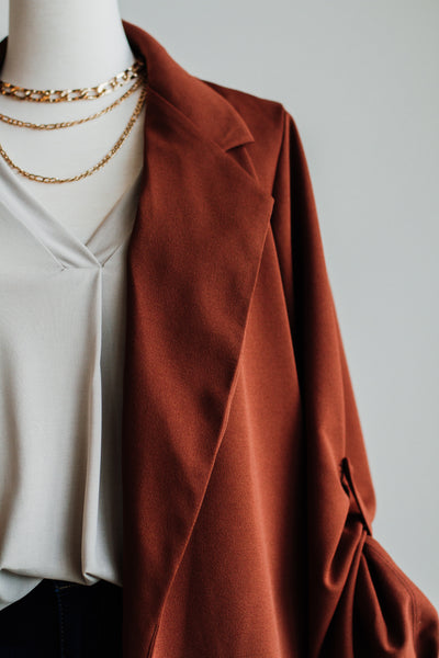 SIMPLE OPEN KNIT BLAZER IN CHESTNUT