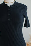 ELEANOR  KNIT SHIRT DRESS IN BLACK