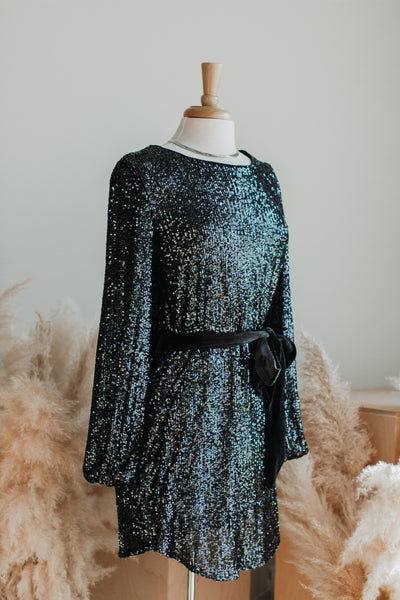 DECK THE HALLS SEQUIN MINI DRESS IN GUNMETAL