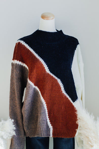 HIGHLANDS ORGANIC SWEATER IN NAVY + RUST