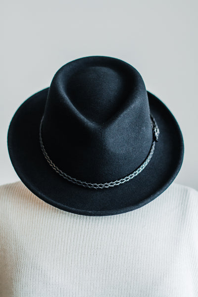 ROUX BRAIDED BAND FEDORA IN BLACK
