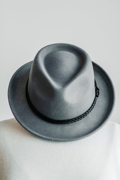 ROUX BRAIDED BAND FEDORA IN GREY