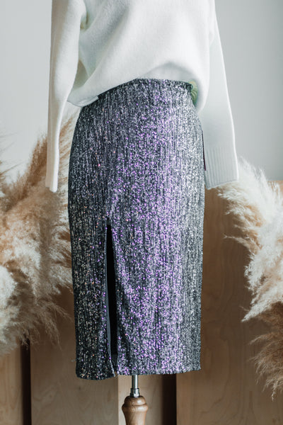 SASS SEQUIN SKIRT IN SILVER